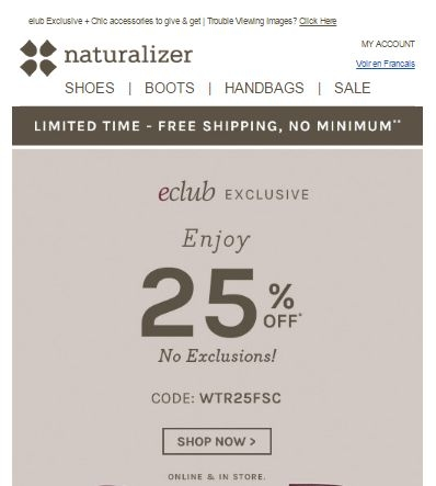 But there is more. You can also join the free Naturalizer eclub for additional perks. As a welcome gift, all new eclub members will receive a free $10 discount code that will give them free shipping as well. This coupon code can be applied on all Naturalizer orders of $10 or .