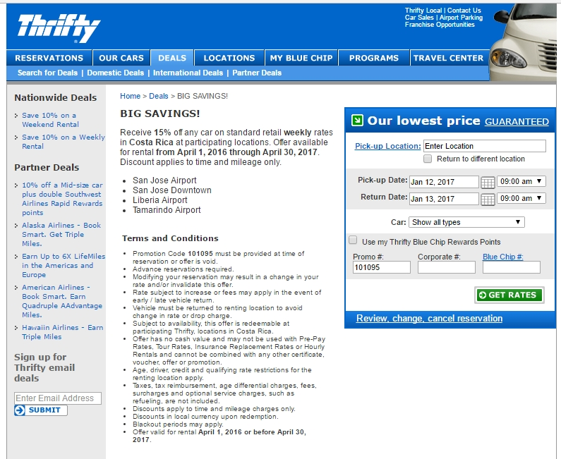 Thrifty Car Rental Discounts >> 30% Off Thrifty Car Rental Coupon Code | Save $20 w/ Promo Code