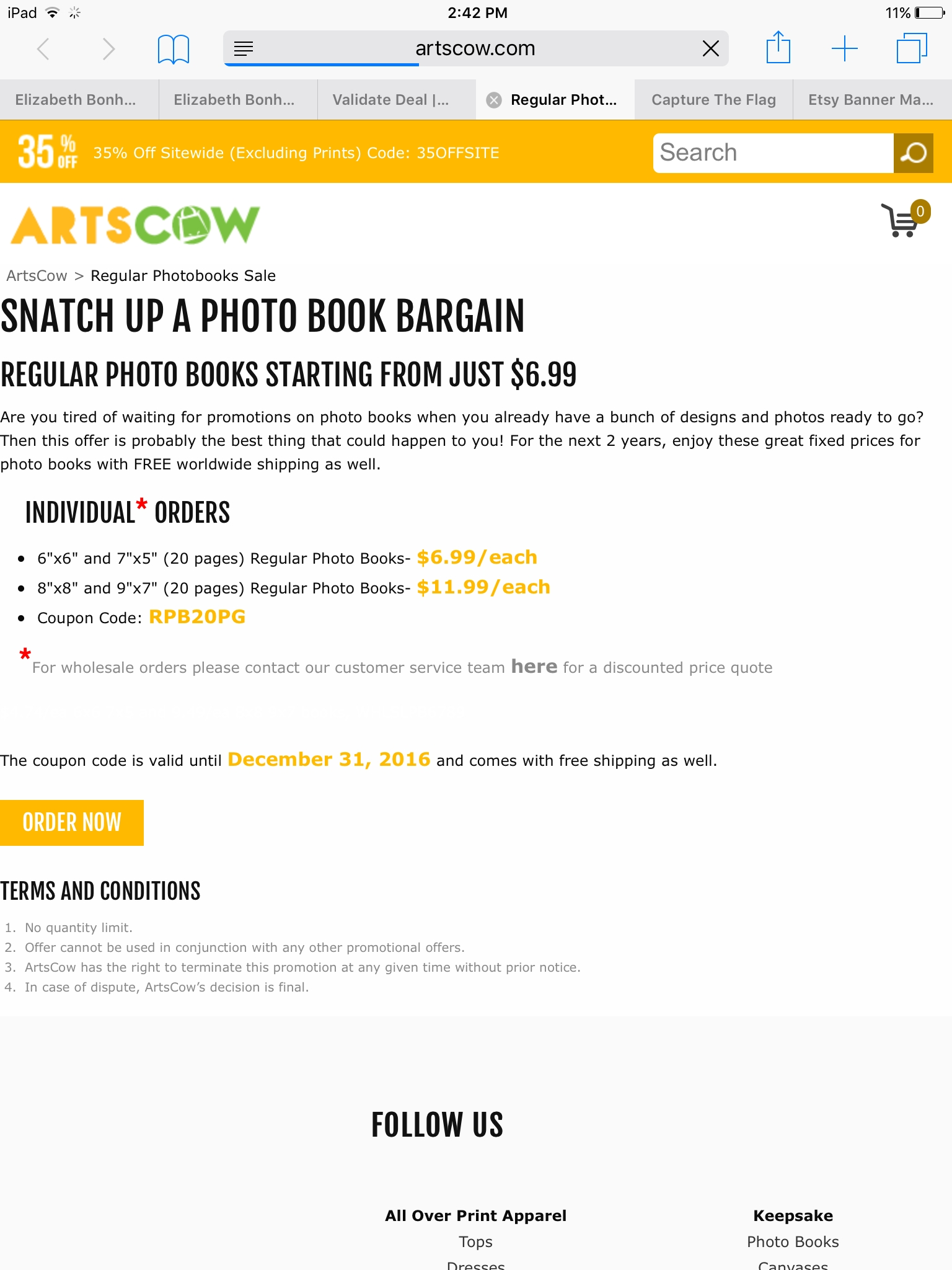 Artscow discount coupons