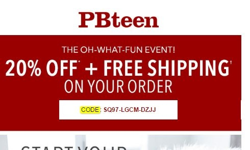 Pottery barn teen coupon code