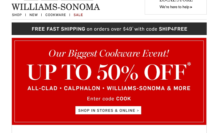 Williams sonoma coupon code 15