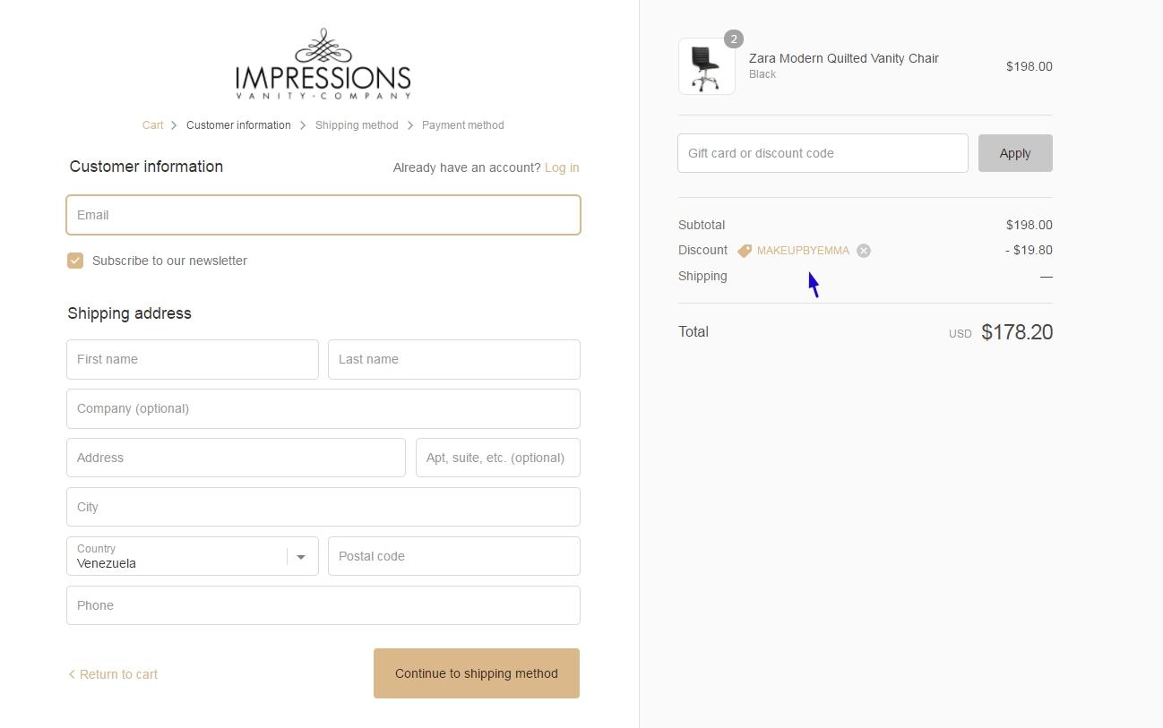 Impressions vanity coupon code