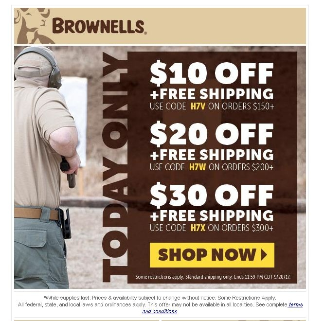 Today we offer you 23 Brownells Discount Coupon and 28 deals to get the biggest discount. All coupons and promo codes are time limited. Grab the chance for a huge saving before it's gone. Apply the Brownells Discount Coupon at check out to get the discount immediately. Don't forget to try all the Brownells Discount Coupon to get the biggest discount.