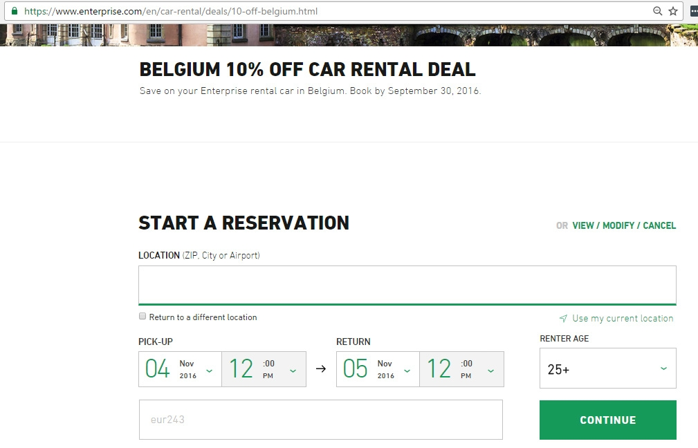 Enterprise car rental coupon codes and discounts