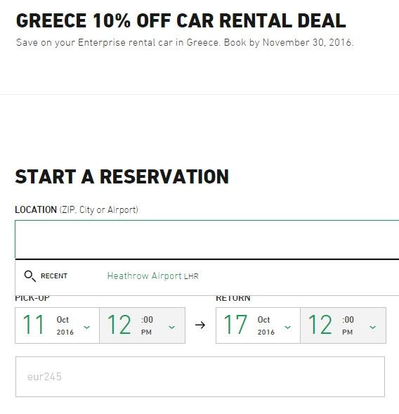 Coupon discount for enterprise car rental