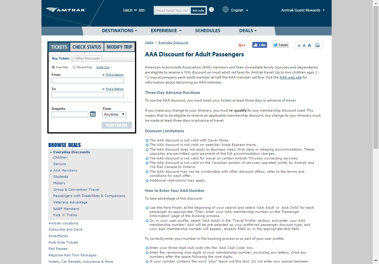 Amtrak coupons and discounts