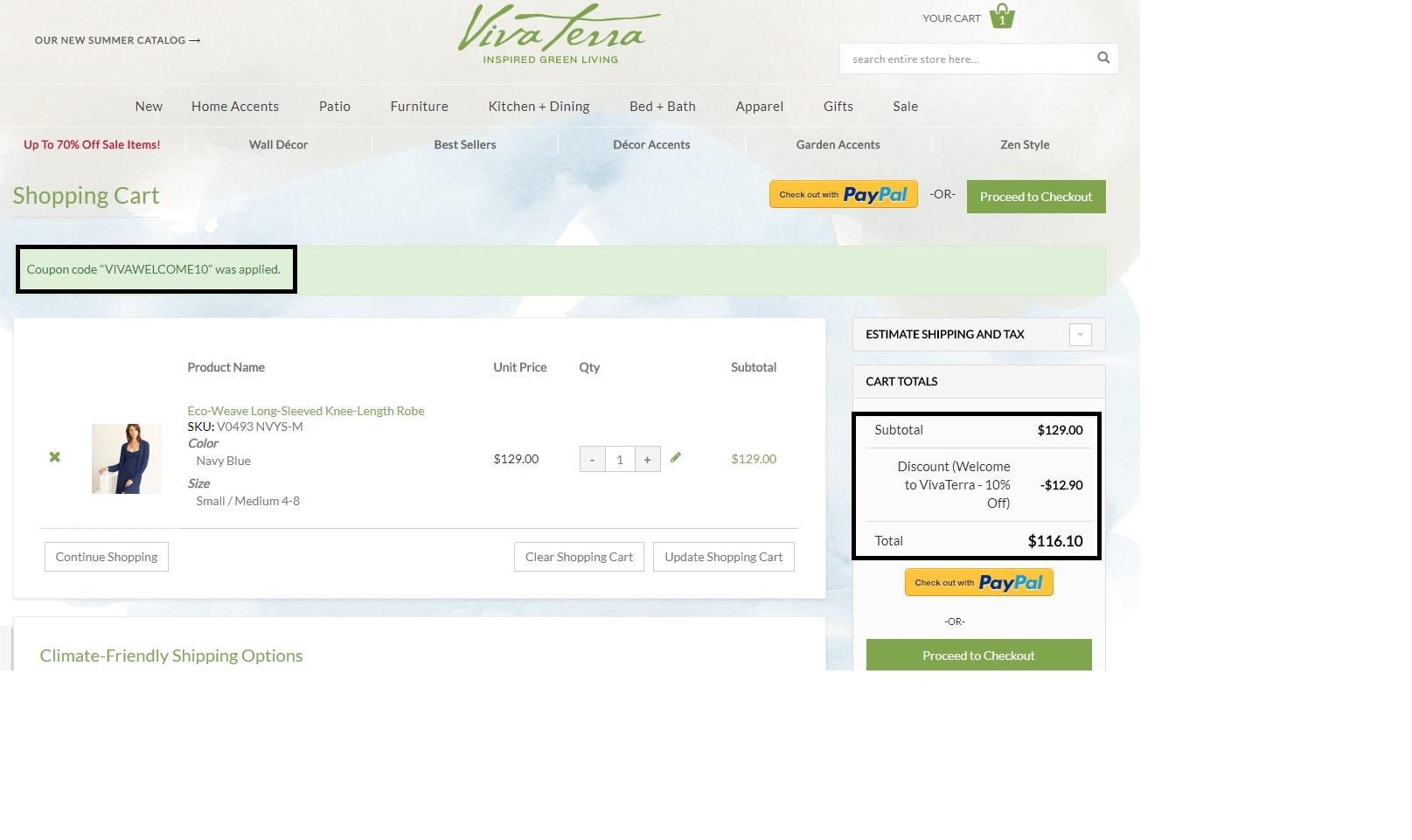 Vivaterra shipping coupon
