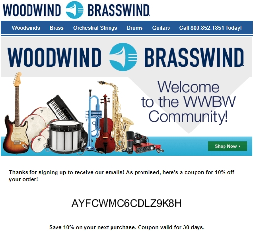 Coupon woodwind and brasswind