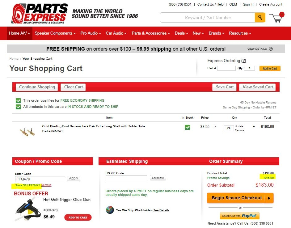 $25 Off On Orders of $ Huge price discount at Parts express, $25 Off On Orders of $ Make use of this Parts express coupon code and do not spend more.
