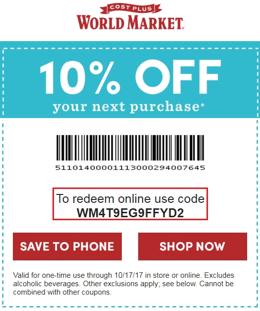 Past Cost Plus World Market Coupon Codes