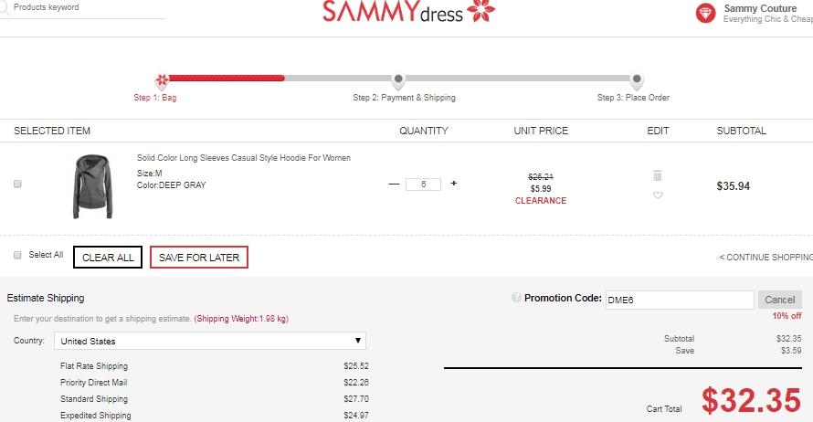 Sammydress shipping coupons