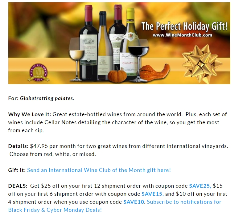 Save with Wine of the Month Club promo codes and coupons for December Today's top Wine of the Month Club offer: 15% off Wine of The Month Club Memberships. Find 19 Wine of the Month Club coupons and discounts at bestnfil5d.ga Tested and verified on December 03, %(42).