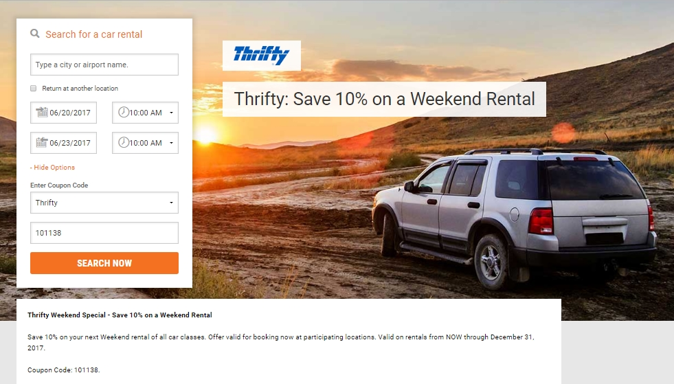 Thrifty car rental coupons 2019