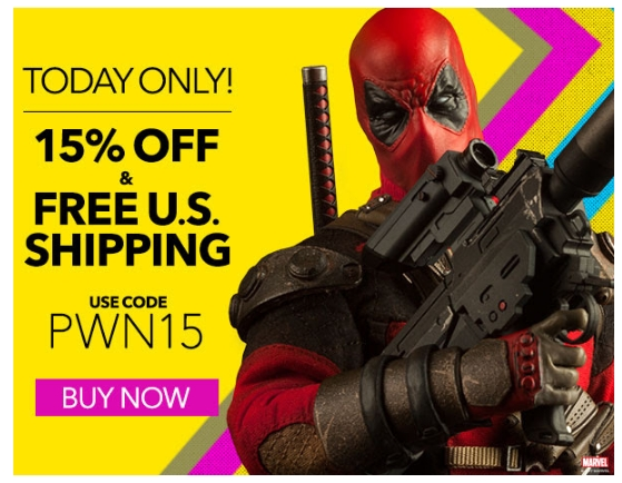 Get a $15 off coupon when you sign up for the free Sideshow Collectibles email newsletter. With the newsletter you will get exclusive access to contests, giveaways and discounts. You'll also get alerts letting you know when items you want are soon to be gone.