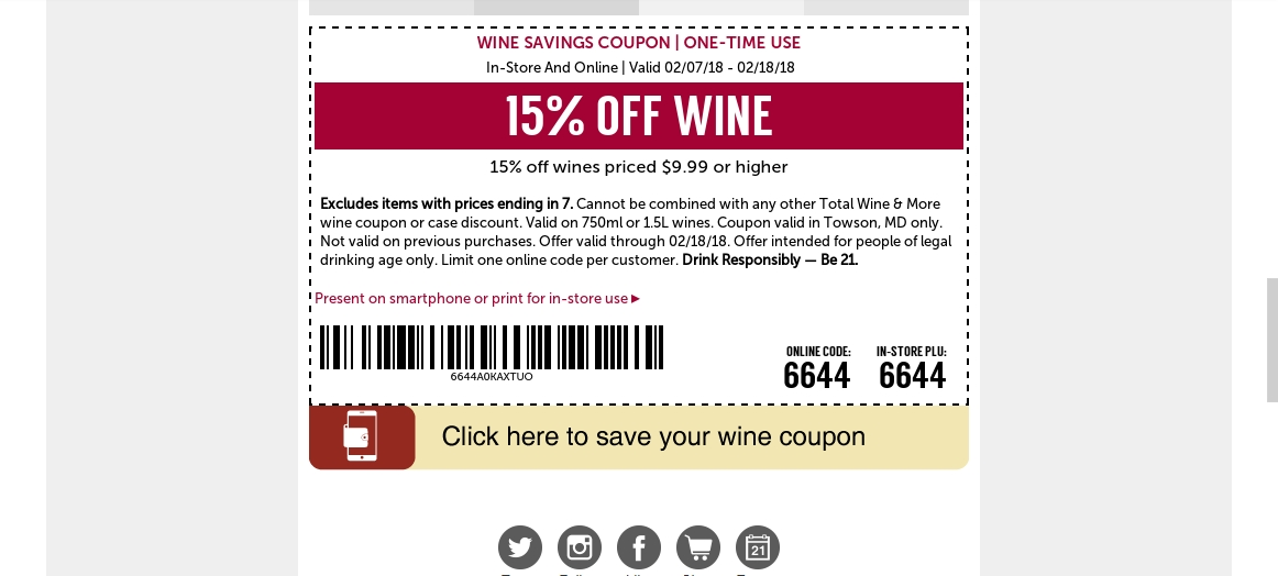 Total wine coupons 2019