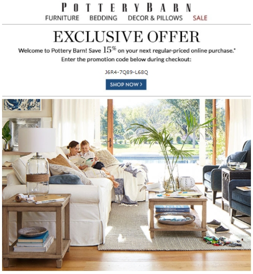 20% Off Pottery Barn Coupon Code