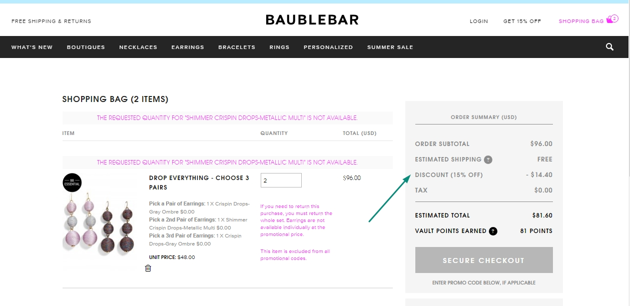Bauble bar coupon code