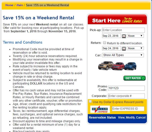 Dollar Car Rental Redeem  Off