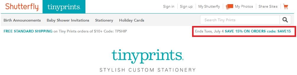 tiny prints discount coupon code