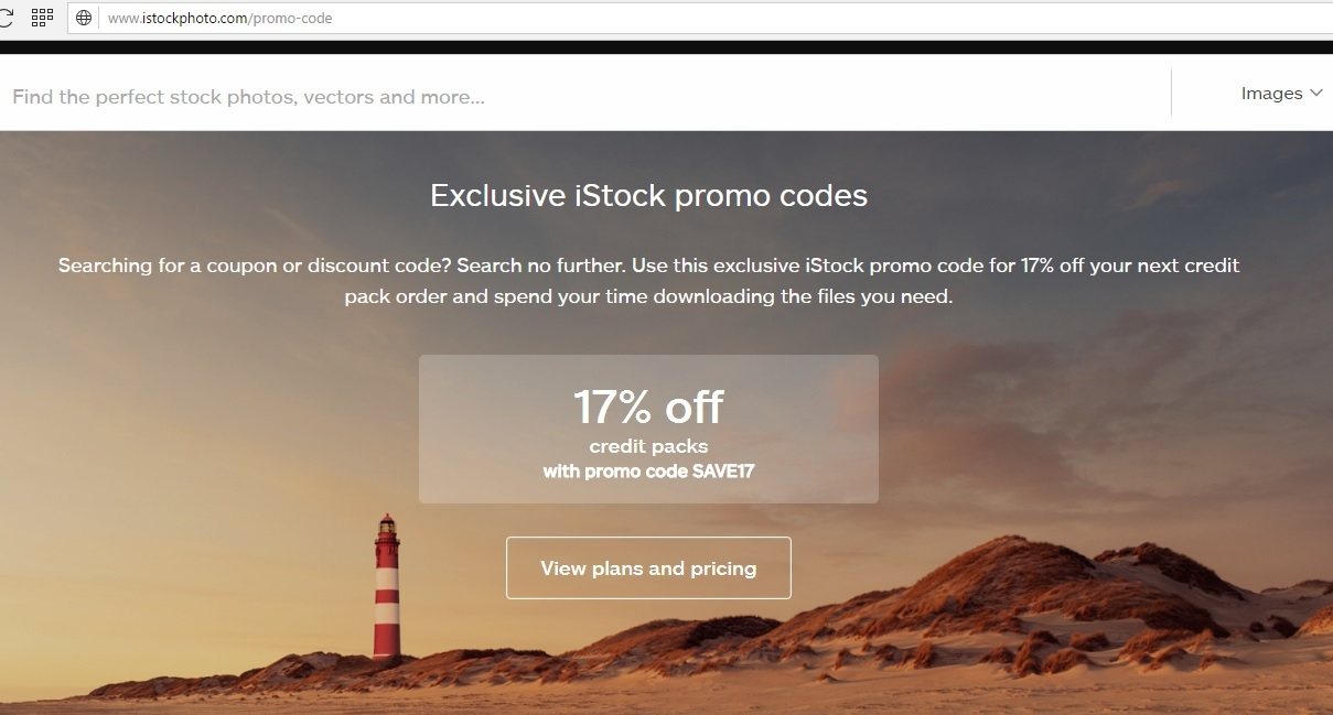 iStock Promo Code website view iStock is a source for royalty-free stock images, media, and design elements. They offer vector illustrations, videos, music, and sound effects.