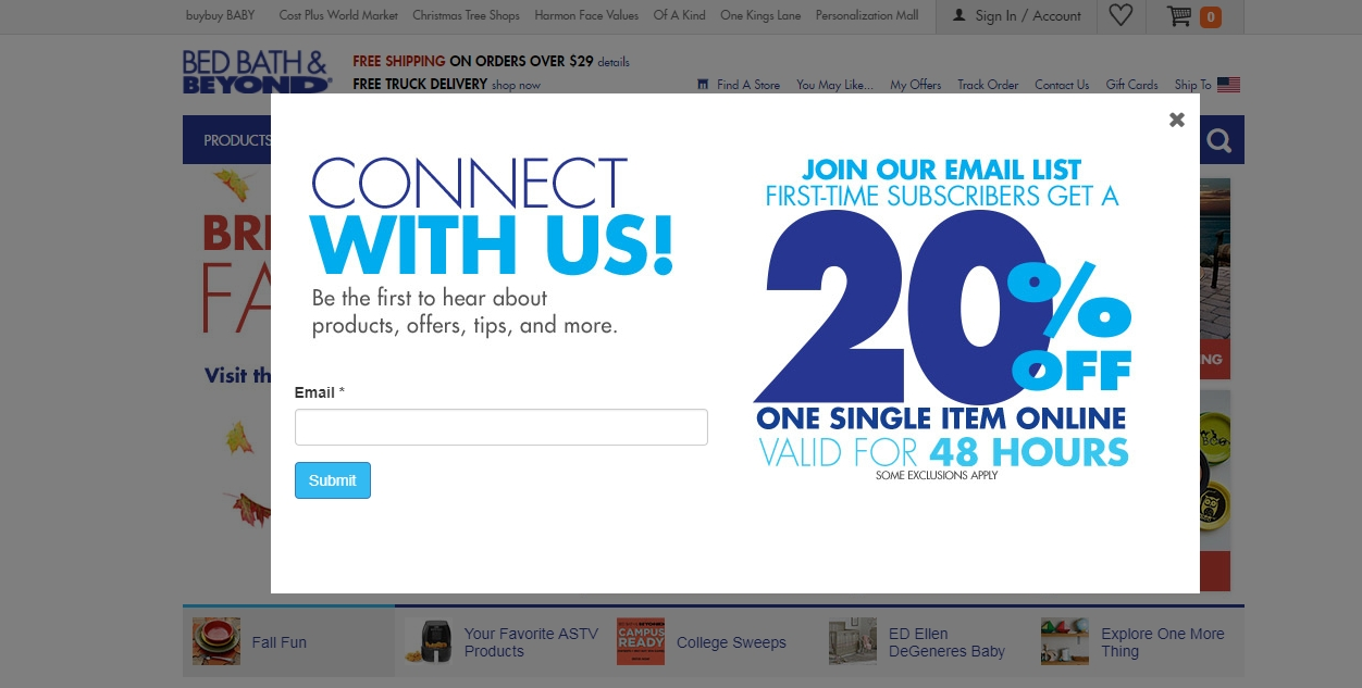 First-time subscribers get a 20% off one single item mobile offer for in-store or online use on a future purchase. Text offers typically include an online promo code, as well as a Bed Bath and Beyond in-store coupon.