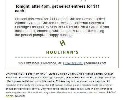 Houlihan's coupons