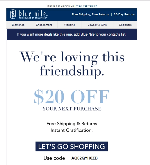 Blue nile coupons december 2018
