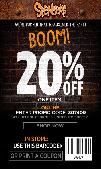 Save $17 on average with Spencers promo codes and coupons for November Today's top Spencers offer: 20% OFF. Find 11 Spencers coupons and discounts at mpupload.ga Tested and verified on November 06, %().