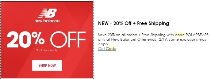 New Balance has clearance sales for up to 40% off their activewear. You can also find New Balance discount codes for money off a minimum purchase or percentage discounts. You can also get discounted items during their Black Friday and Cyber Monday sales. Save even more with a New Balance free shipping promotion. You can learn more about New.