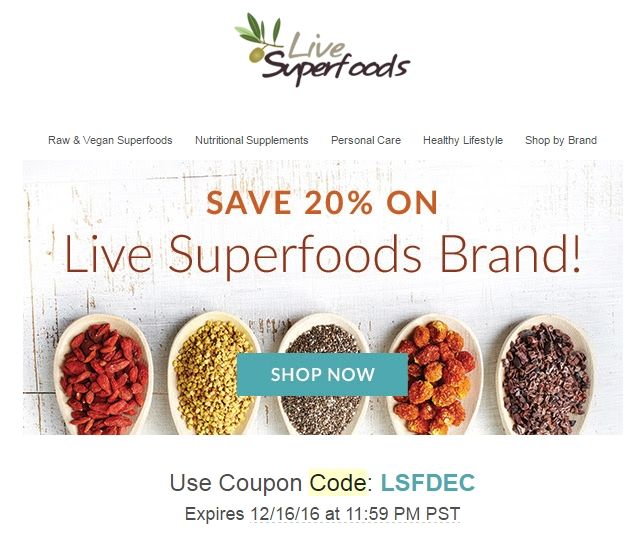Follow Live Superfoods on Facebook and Twitter to receive exclusive coupons, deals, and seasonal promotions. Their social media team posts something special every week for their fans and followers. Live Superfoods guarantees that they will match any competitors price.