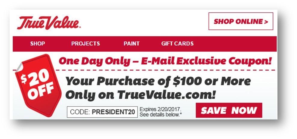 True value coupon code