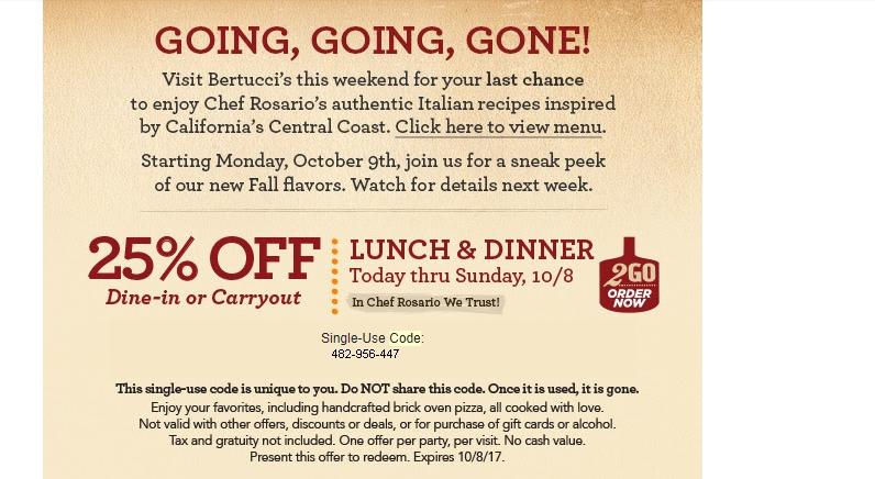 Bertuccis coupon code