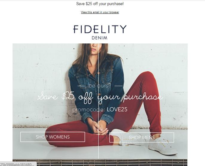 Fidelity denim coupon code