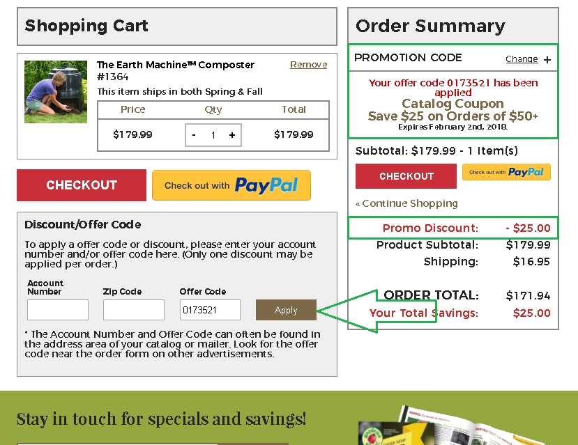 Online coupons gardens alive