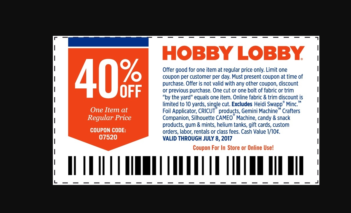 Hobby lobby 40 discount coupon