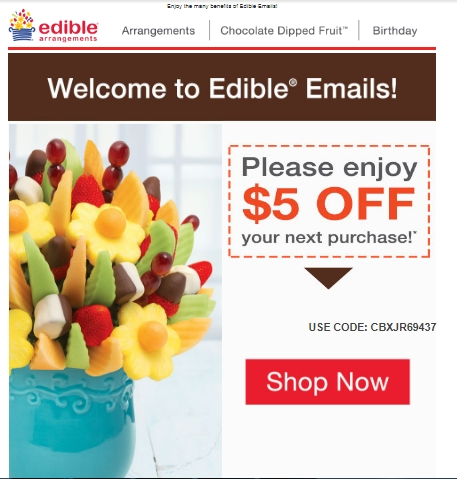 Discount coupons for edible arrangements