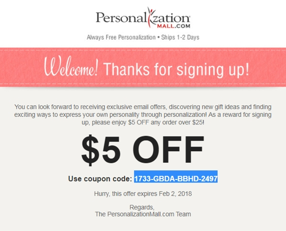 Personalization mall coupon codes