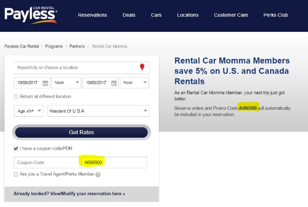 Payless rent a car discount coupons