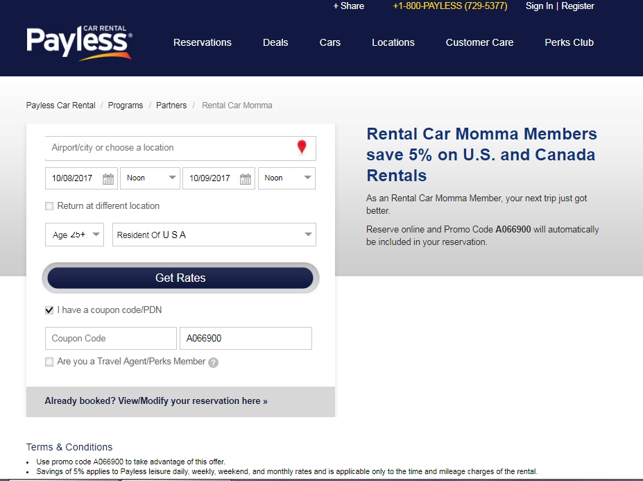Payless rental car coupon code