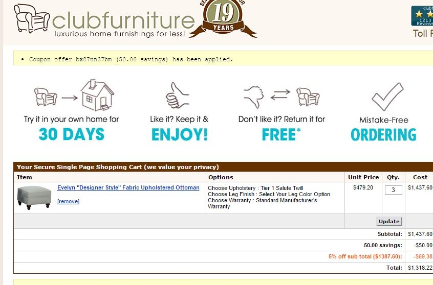 30% f Club Furniture Coupon Code 2017