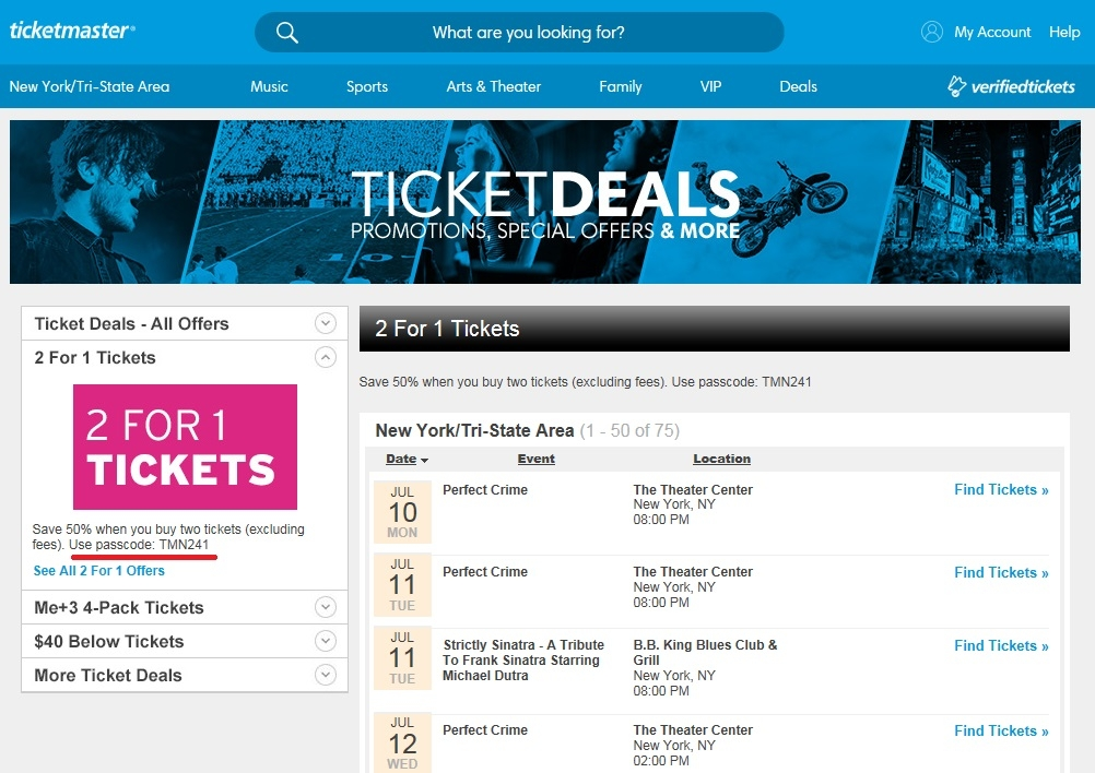 Coupons ticketmaster codes