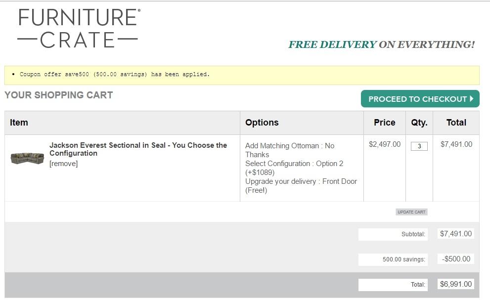 $75 f Furniture Crate Coupon Code