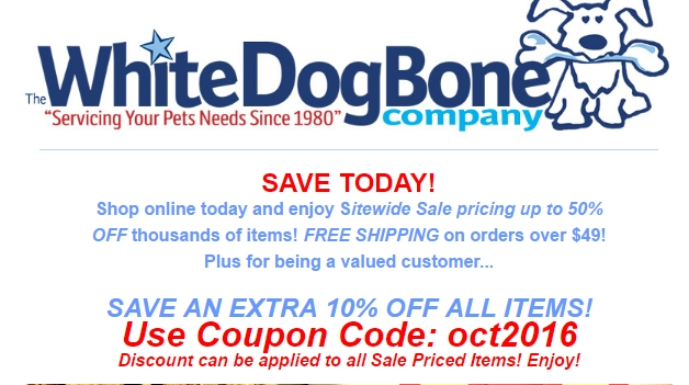 30 off white dog bone company coupon code save 20 w promo code. Black Bedroom Furniture Sets. Home Design Ideas