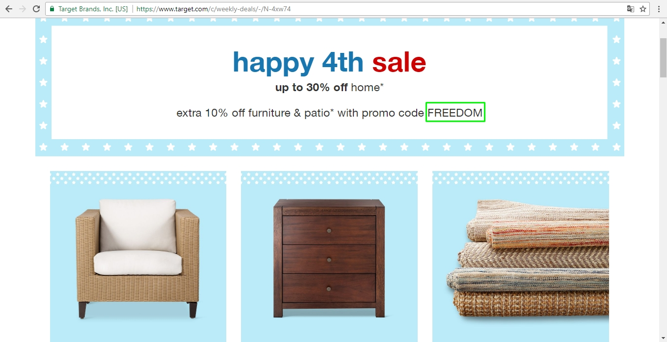 Target furniture coupon code