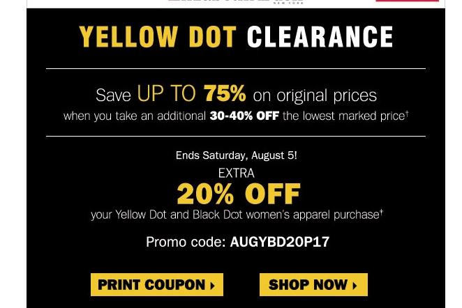 Carsons yellow dot sale coupon