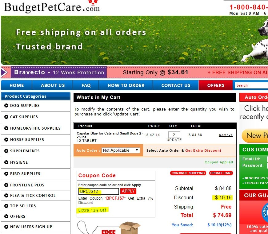 Coupon budget pet care