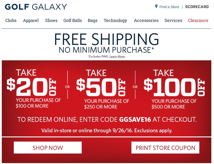 50% Off Golf Galaxy Coupon Code | Save $20 in Nov w/ Promo ...