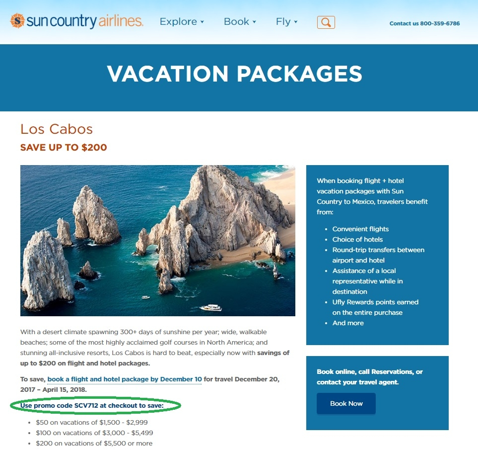 Start making purchases using this coupon code and enjoy great savings. Shop right away and get up to $ Off on Flight and Hotel Vacations to Mexico, Costa Rica, and The Caribbean at Sun Country Airlines.