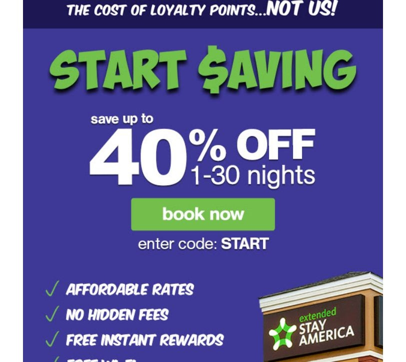 About Extended Stay America. Are you on the hunt for the newest and valid Extended Stay America coupon codes and promotions on the web? If so, you have come to the right place. hitmgd.tk offers a wide selection of Extended Stay America promo codes and .