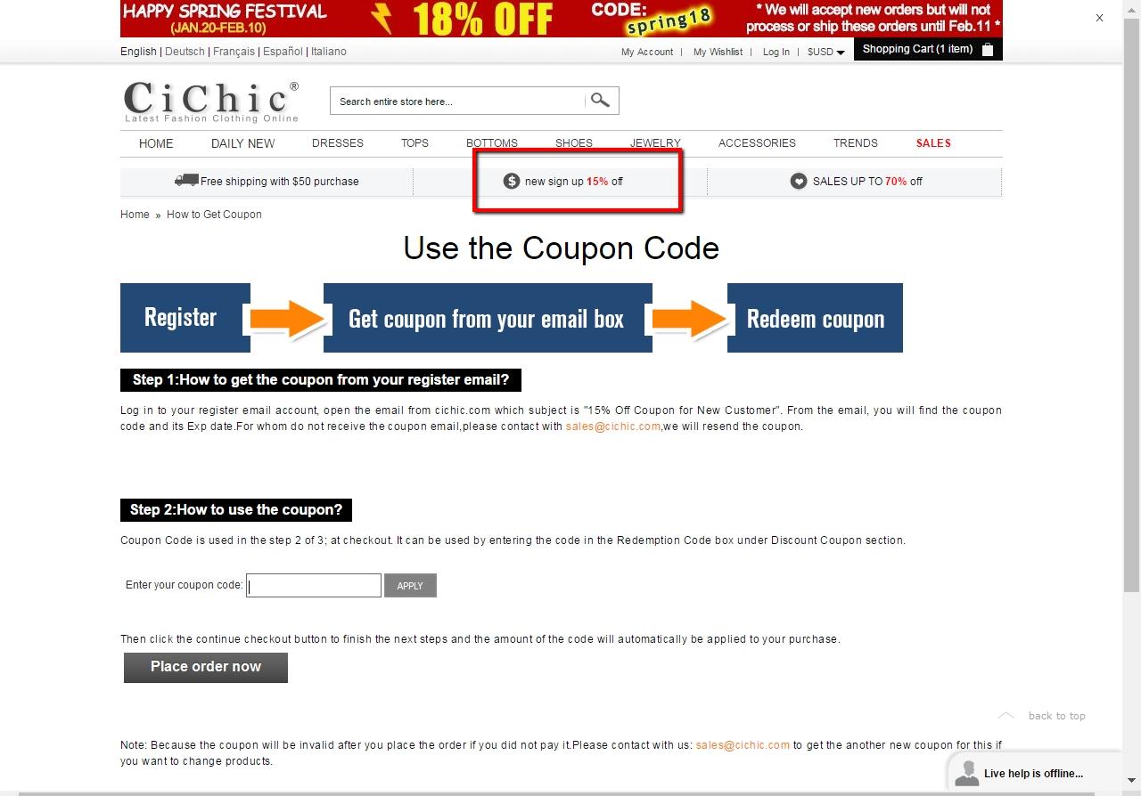 Cichic coupon code